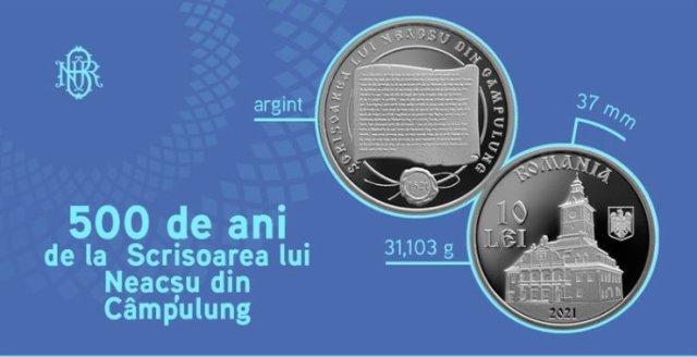 BNR lansează o monedă din argint cu tema 500 de ani de la Scrisoarea lui Neacşu din Câmpulung