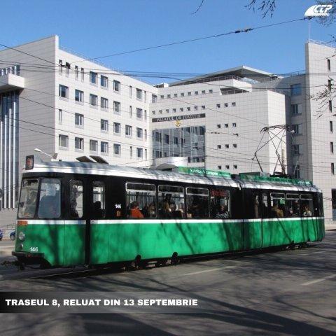 A fost reluat traseul de tramvai numărul 8, Copou-Baza 3
