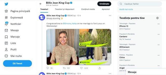 Halep, felicitată pentru căsătorie şi de site-ul Billie Jean Jing Cup: Pur şi simplu uimitoare!
