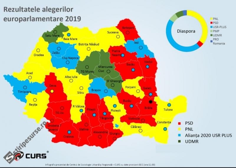 Harta Votului La Alegerile Europarlamentare Pe Județe și Municipii
